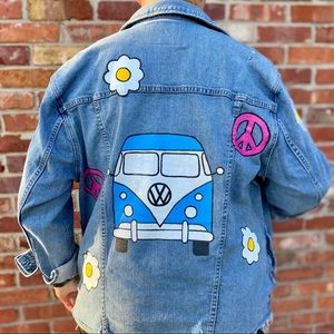 Hand-Painted Lucky Brand Jean Jacket (NWOT)